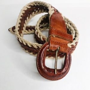 VINTAGE |  Woven Brown Cream Leather Belt S